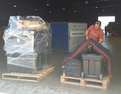 WEG reiner versus WEG eventer: which stack of equipment do you think is the eventer's? Photo via Hawley Bennett's Facebook page.