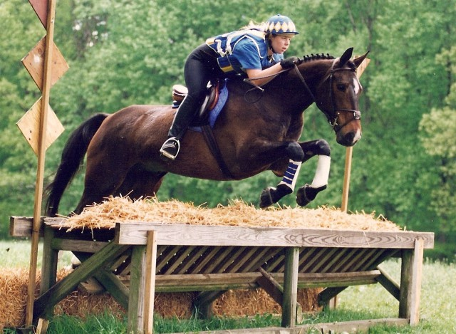 Suzy in her eventing days. Photo by Linda Gallo.