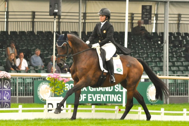 Hannah Sue Burnett and Harbour Pilot scored a 48.5 at Burghley. Photo by Kate Samuels.