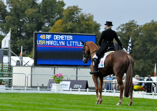 Marilyn Little & RF Demeter's first Burghley halt and salute. Photo by Kate Samuels.