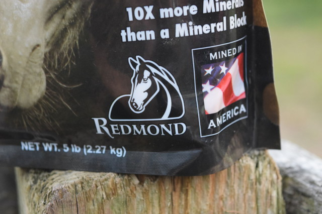 Redmond Logo on a pouch of Daily Red Equine Minerals - Photo by Lorraine Peachey