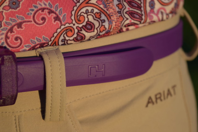 C4 logo on the end of my purple colored skinny belt - Photo by Lorraine Peachey
