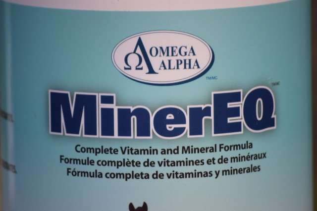 Label on the canister of Minereq by Omega Alpha Equine - Photo by Lorraine Peachey