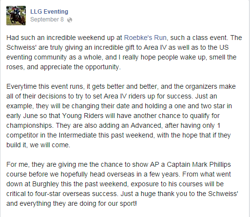 Screenshot via LLG Eventing's Facebook page