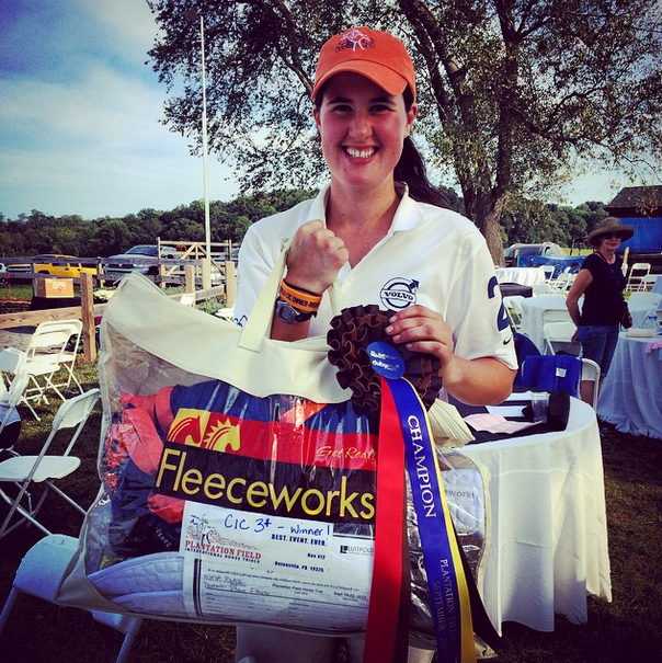 Maya Black shows off her swag from winning the Plantation Field CIC3*. Photo via EN's Instagram.