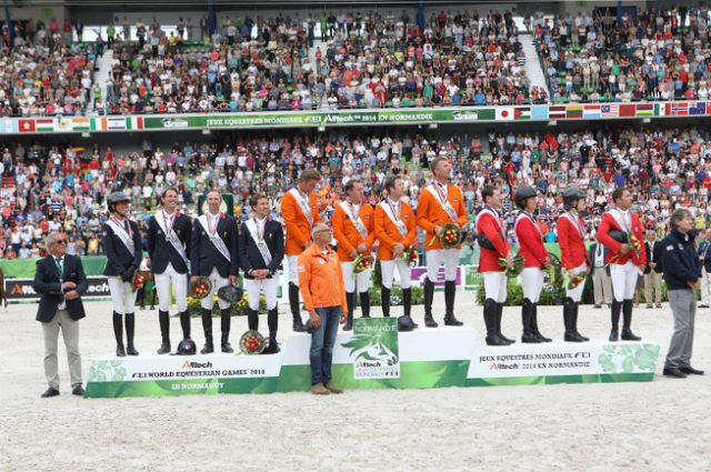 The show jumping podium: Netherlands, France, USA. Photo via Normandie 2014 on Twitter.