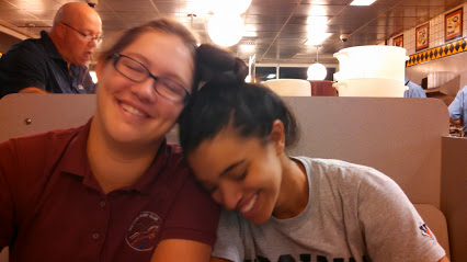 My daughter and Kiri, at Waffle House the morning of the rally. Photo by me.