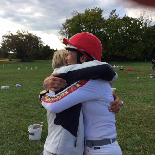 Heather Morris and Tamie Smith sharing some serious love after cross country. Photo via Tamie Smith's FB.