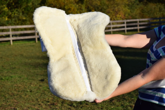 """Mattes Gold Collection pads features dense, soft wool panels on the underside of the pad; the wool is 1 1/4"""" thick, and is woven to a fabric backing - Photo by: Lorraine Peachey"""