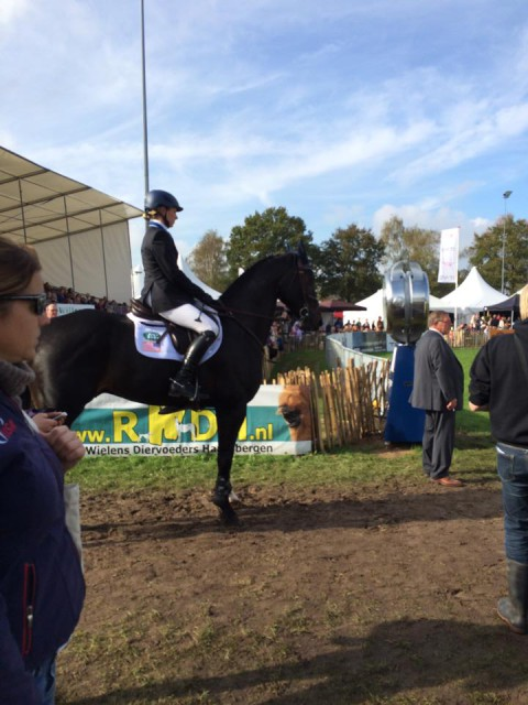 Liz Halliday-Sharp awaits her turn in the ring. Photo via the USEF Eventing High Performance Facebook page.