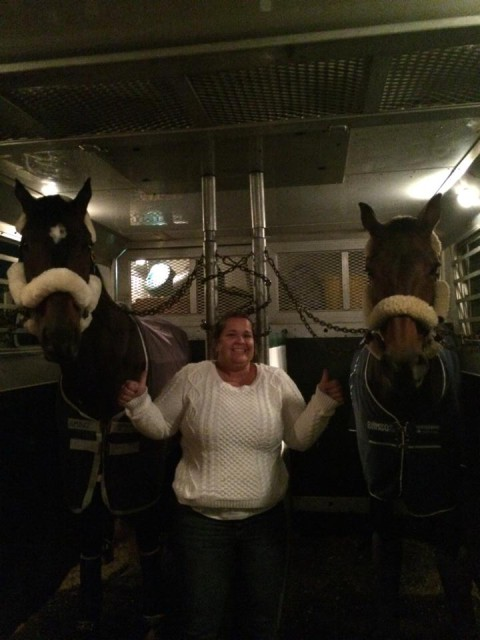 No Boundaries and Veronica settled into their flight to Pau with Shannon Kinsley. Photo via Jenn Cain on Facebook.