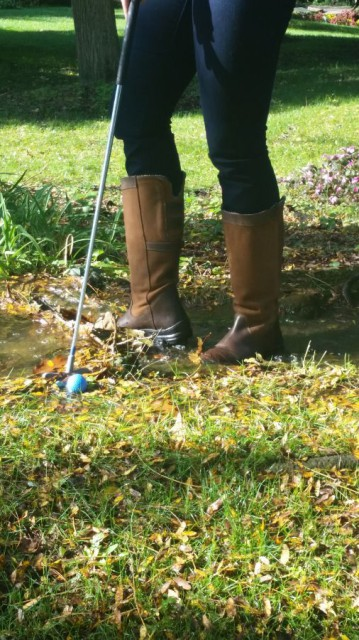 The Ainsley boots kept my feet comfortable AND dry EVEN during my 'over the river and through the woods' mini-golf adventure - Photo by Lorraine Peachey