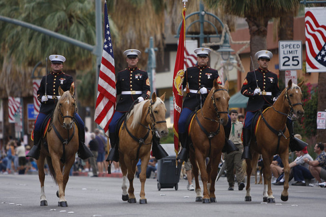 Marine Corps Logistics Base Barstow's color guard during the 13th annual Veterans Day Parade in Palm Springs, CA. Photo courtesy of Wikimedia Commons