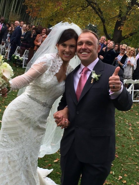 Thumbs up for Mr. and Mrs.! Photo via Andrea Leatherman on Facebook.