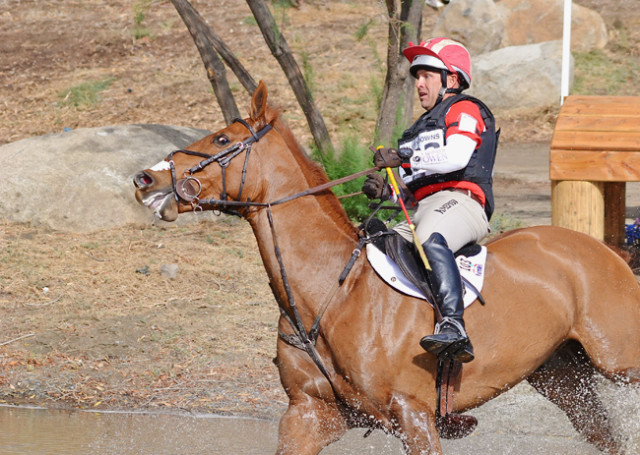 Buck Davidson and Copper Beech get it done at the bounce into the water. Photo by Jenni Autry.