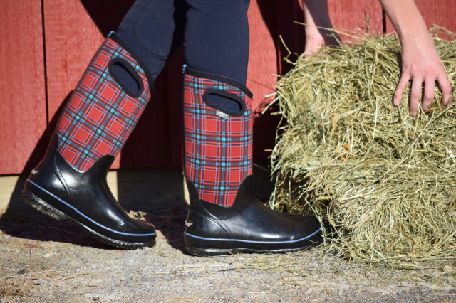 "During this ""Mud Season"", I've been wearing the Bogs Classic High Boots around the farm - in all of their Winter Plaid glory. And my feel stay comfortably dry, and don't overheat - Photo by Lorraine Peachey"