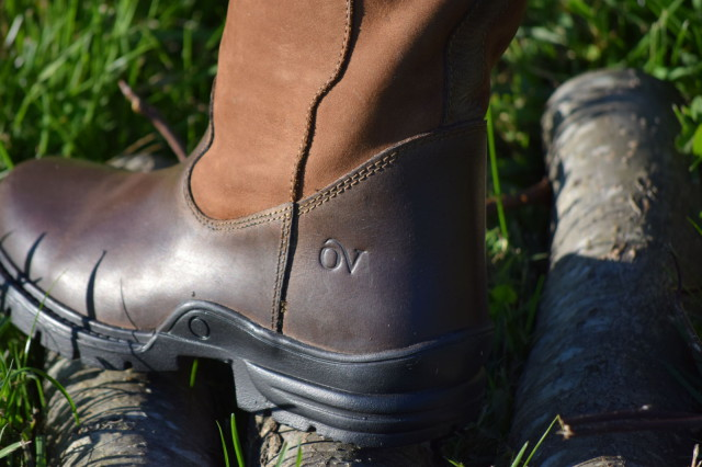 Ovation logo on the oiled dark brown leather foot of the Ainsley Boot - Photo by Lorraine Peachey
