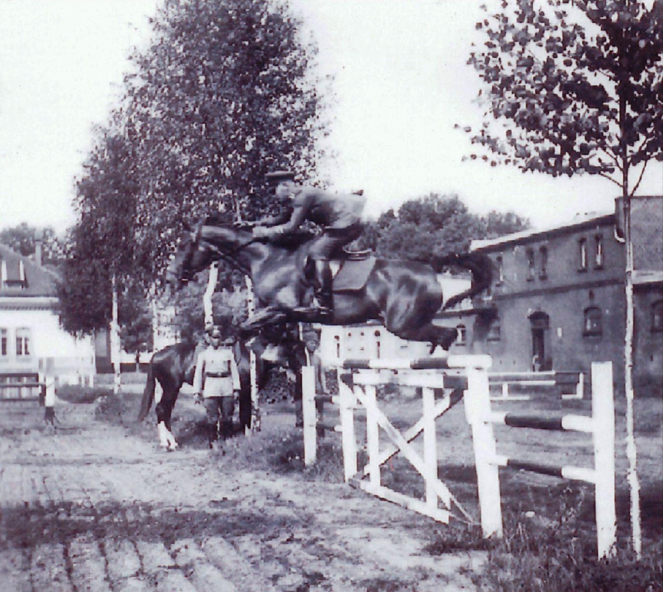 Oscar Engelhardt, a cavalry officer, at the Trakehnen stud in 1936. Photo courtesy of Engelhardt Family Archives.