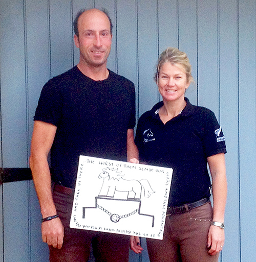 Tim and Jonelle Price and their doodle. Photo courtesy of NZRDA.