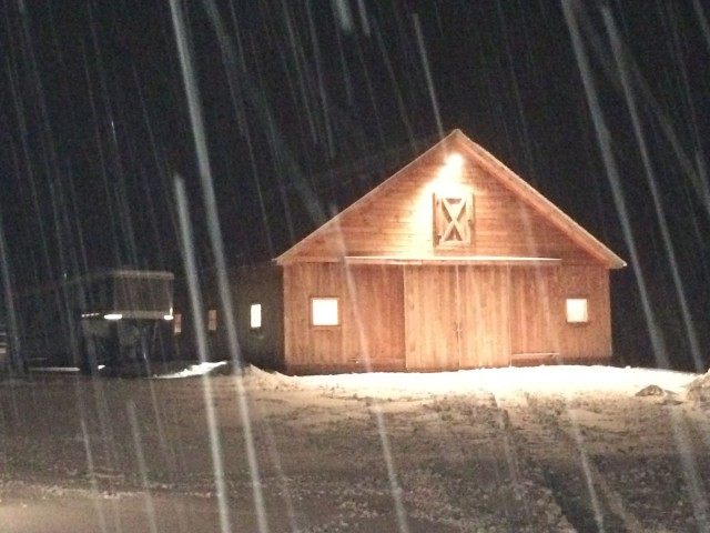 A safe barn that is warm and cozy during winter's first storm.