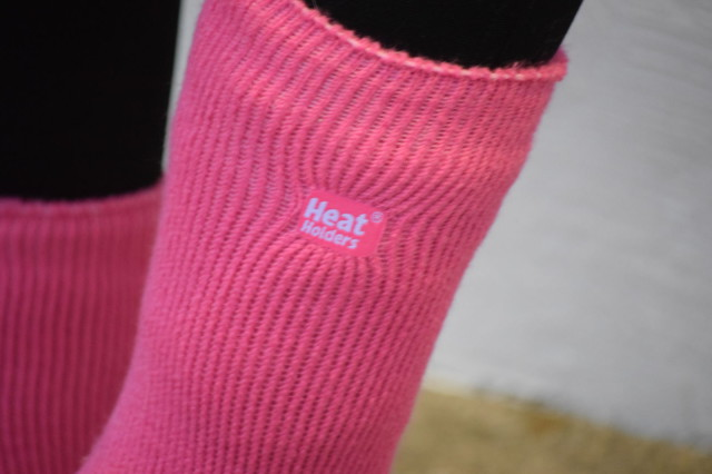 Heat Holders logo on the side of the Ladies Original Crew sock - Photo by Lorraine Peachey