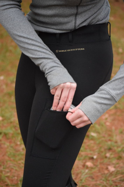I also really like the stash pocket of the Balance Riding Tights--which is large enough to comfortably fit my large smartphone in it's Otterbox case - Photo by Lorraine Peachey