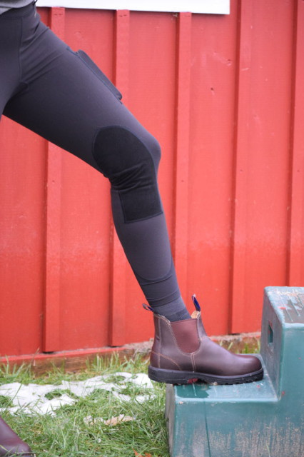 The Balance Tights feature a Euro Seat design, and Toray ultrasuede knee patches - Photo by Lorraine Peachey