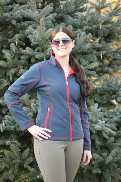 One of the first aspects of the Christine Softshell Jacket that drew me in was the lovely navy coloring, which is coupled with contrasting red stitching and zipper - Photo by: Lorraine Peachey