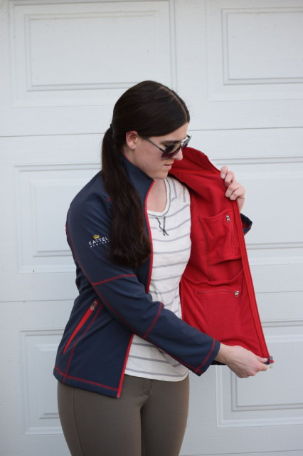 The interior of the Christine Softshell Jacket is lined with a soft fleece with a gridded pattern. Which also happens to be the same stand-out shade of red - Photo by: Lorraine Peachey