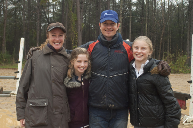 Left to right: Kelsey Briggs, Haley Nelson (10), Francis Whittington, Kaley Crosby (14) still all smiles after a rainy day of lessons. Photo by Leslie Threlkeld