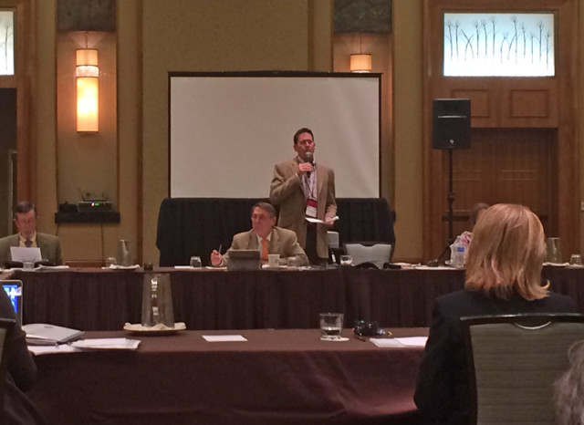 Robert Kellerhouse speaks in the USEF Eventing Technical Committee Open Forum.