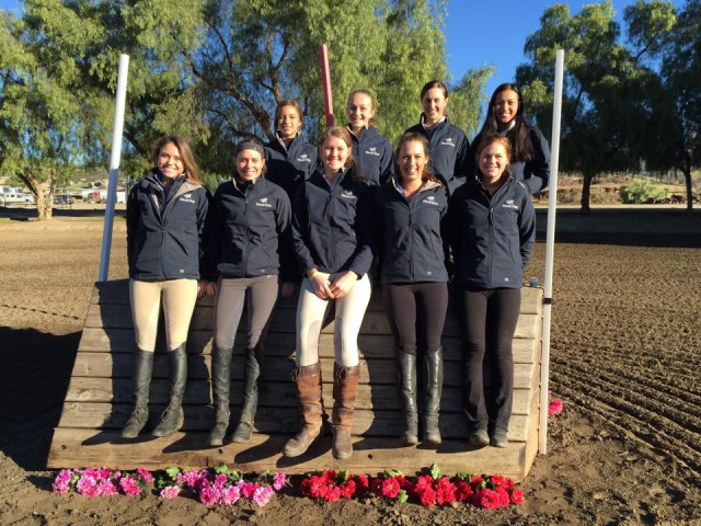 The Eventing 18/25 riders at the West Coast training sessions in their SmartPak jackets. Photo via USEF Eventing High Performance Facebook page.