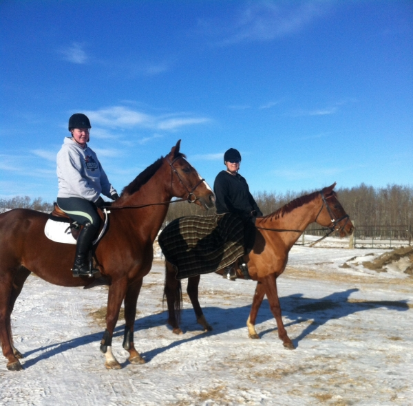 A friend and I hacking out around the farm.  Photo courtesy of Jessica Kerschbaumer