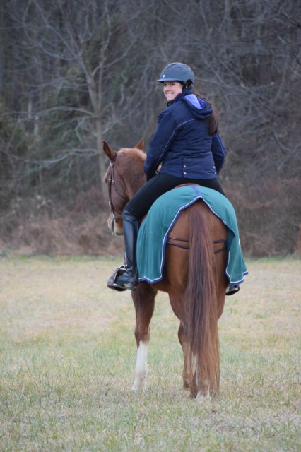 Both the Fleece Tush Cushion and Cozy Toes have made riding in the cold temperatures more comfortable for me - Photo by Lorraine Peachey