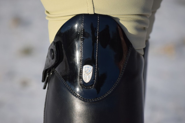 The pair of Monaco Stretch boots that I've been riding in also feature a striking patent leather top, which I simply adore - Photo by Lorraine Peachey