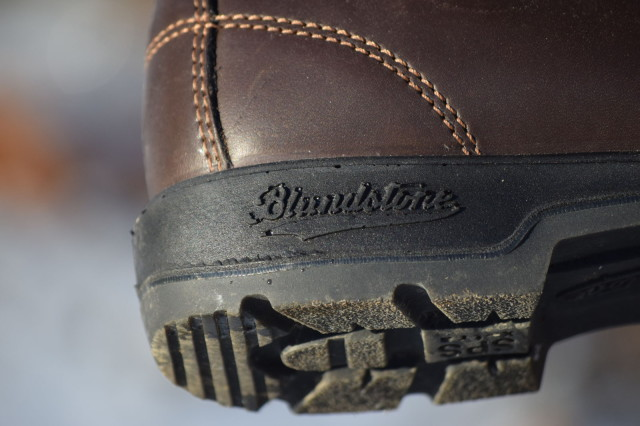 Blundstone logo on outsole of the Warm & Dry boots - Photo by Lorraine Peachey