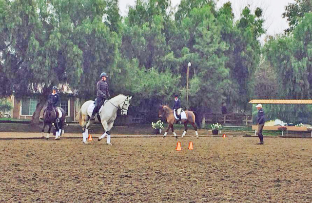 U.S. Developing Rider Coach Leslie Law works with riders at the Eventing 25/18 training sessions at Tucalota Creek in Temecula. Photo via USEF Eventing High Performance Facebook.