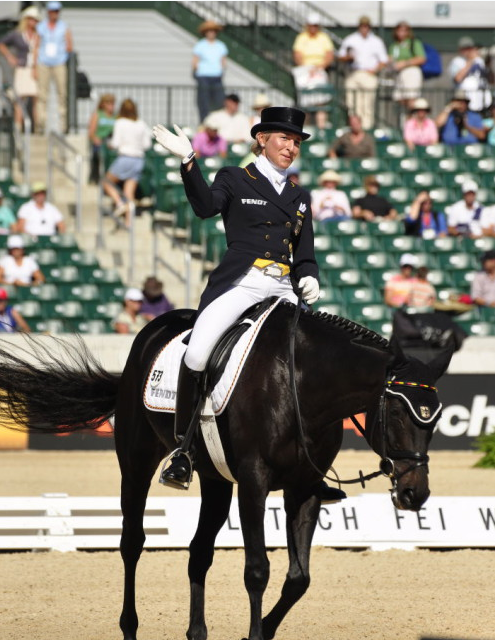 Ingrid Klimke and FRH Butts Abraxxas at the 2010 World Equestrian Games in Kentucky. Photo by Leslie Threlkeld