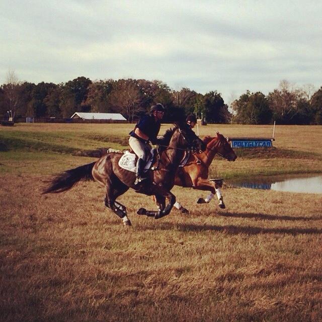 Nick Hansen and Bailey Moran enjoy a gallop on a nice day.