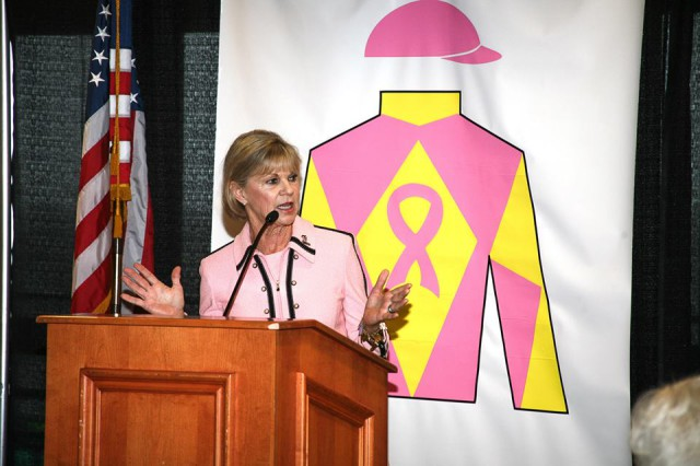 Kentucky First Lady Jane Beshear speaks at a Horses and Hope event at Churchill Downs. Photo courtesy of Horses and Hope.