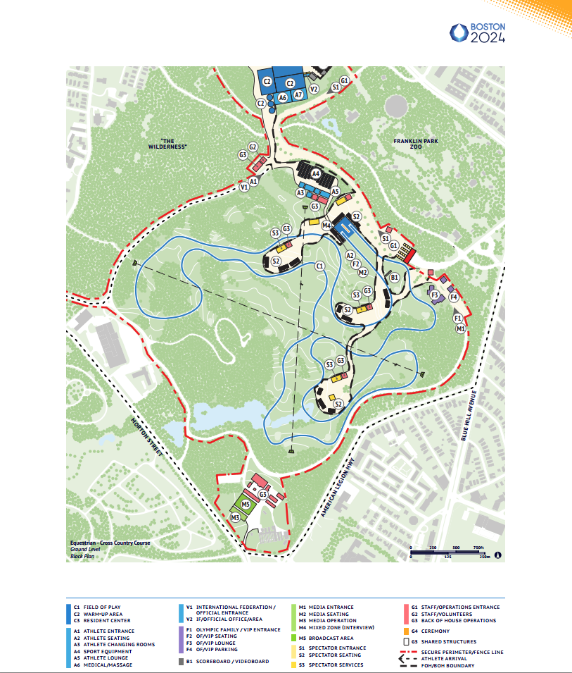 Potential layout for the cross-country course on the William J. Devine golf course. Screenshot from Number 4: Sports + Venues, 2024Boston.org
