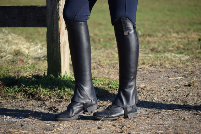 The profile of the Half Chaps is also quite striking to see - they feature a high cut top line, and a zipper that starts at the bottom, and zips up the rear - Photo by Lorraine Peachey