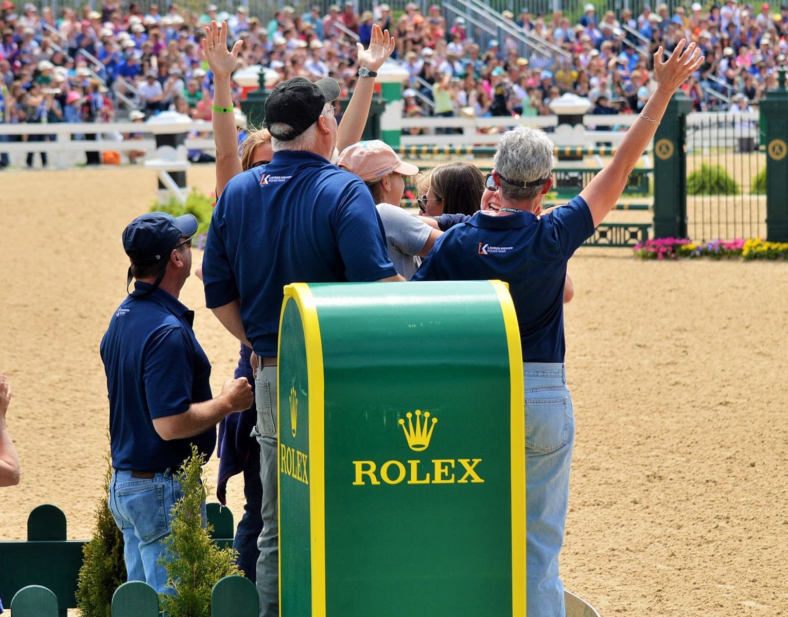 Lauren's cheering section after her clear round at Rolex with Veronica. Photo by Sally Spickard.