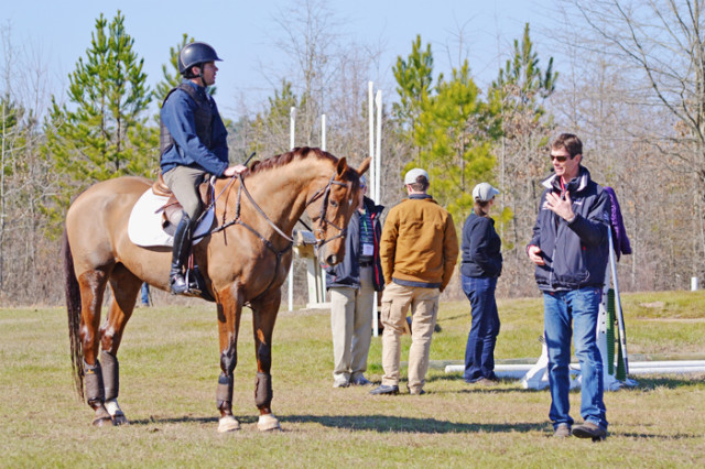 Curran Simpson's Woodstock Bennett looking very handsome in the Aiken sunshine with Ryan Wood in the irons. Photo by Jenni Autry.