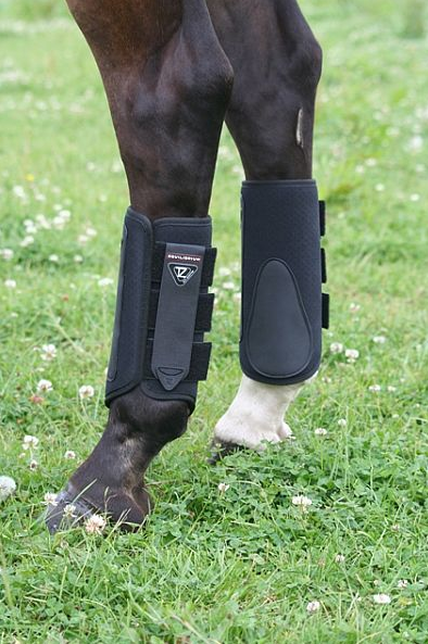 The hind boots have a third Velcro tab for additional security. Photo courtesy of World Equestrian Brands.