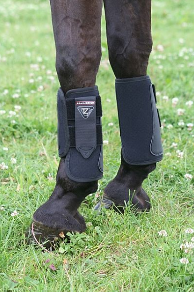 The velcro tabs keep the boot firmly in place but are easy to fasten and unfasten. Photo courtesy of World Equestrian Brands. (Has anyone else forgotten what grass looks like at this point in the winter?)