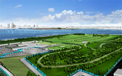 Tokyo Bay's Sea Forest, where eventing cross country will take place. Photo via Tokyo2020.jp