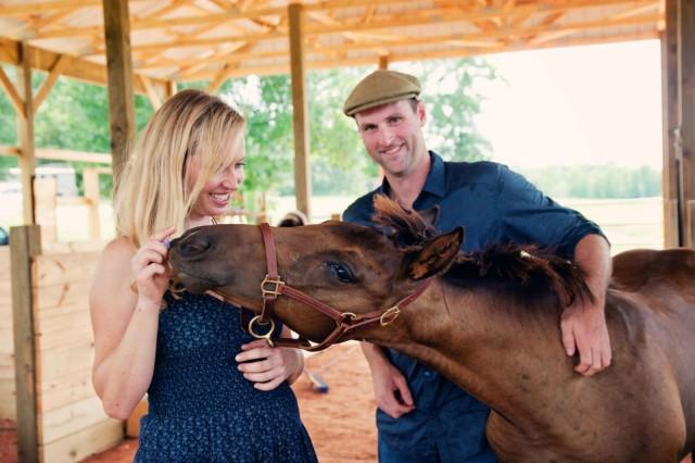 Matt Boyd, Ashley Giles with PF St. Elizabeth Rose (Grafenstolz x Speedy Dee) as a weanling. Photo by Erin Michelle Wheeler