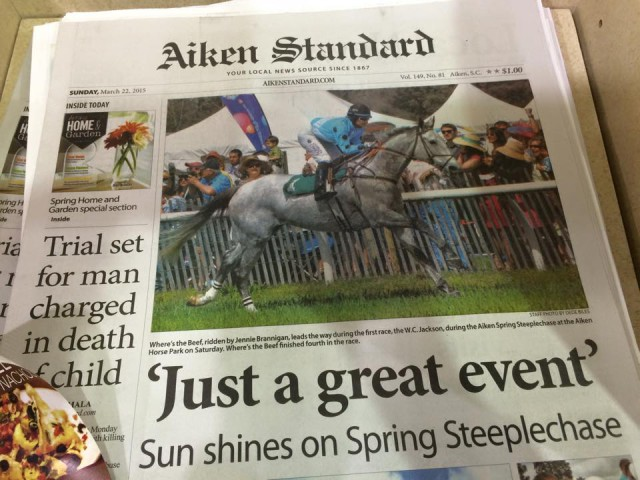 Jennie and Beef on the front page of the Aiken Standard. Photo courtesy of Kate Brown.