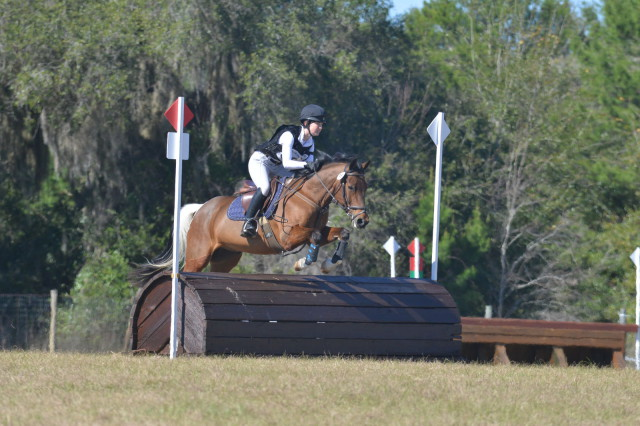 Maggie Gilbert and Toby Wan Kanobi take on Novice XC at the Rocking Horse Winter I Horse Trials. Photo courtesy of Xpress Foto.